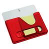 Подставка под ручки с бумажным блоком и крючками для ключей (красная)